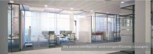 Energieeffiziente Büros mit Glaswänden und Glastüren